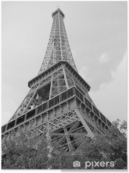 Plakat Tour d'Eiffel, Paryż, czarne i białe - Miasta europejskie
