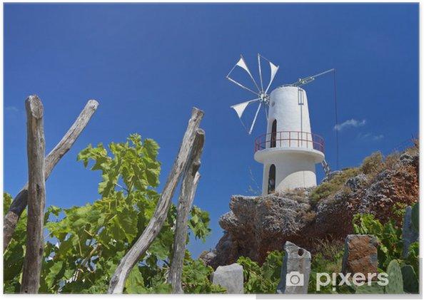 Plakát Tradiční větrný mlýn v Lasithi na ostrově Kréta, Řecko - Evropa