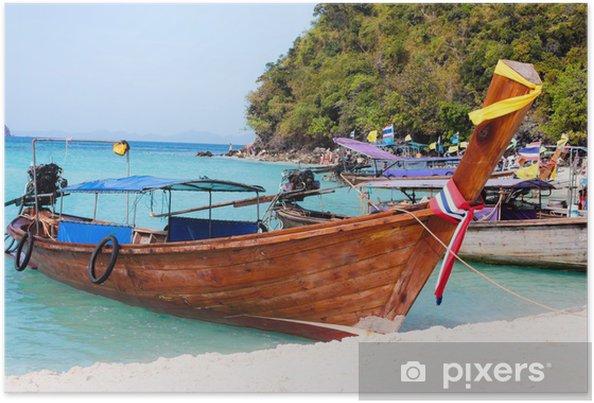Plakat Tradycyjne długi ogon łodzi - Transport wodny