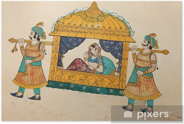 Plakat Tradycyjne malarstwo ścienne starożytnych indyjskich kobieta jest brane - Budynki i architektura