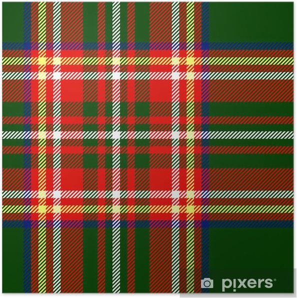 Plakat Tradycyjne tkaniny tartan szwu w kolorze zielonym, wektorowe - Style