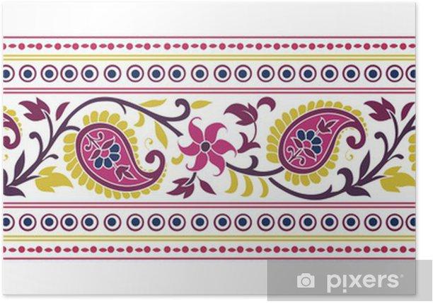 Plakat Tradycyjny paisley kwiatowy wzór tkaniny, Royal India - Style