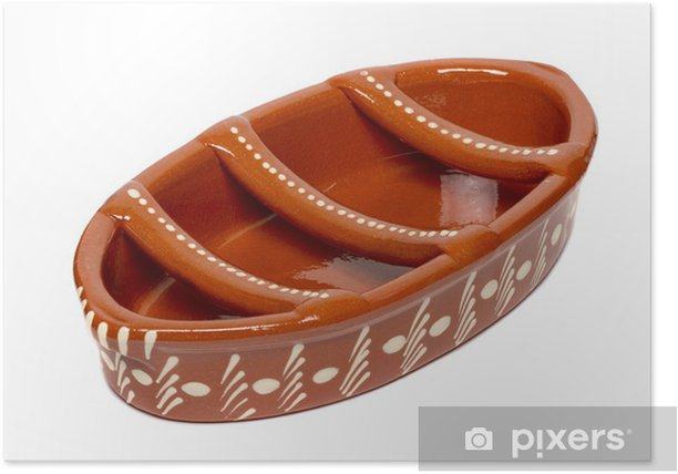 Plakat Tradycyjny portugalski ceramiki do grillowania chorizos. - Akcesoria kulinarne