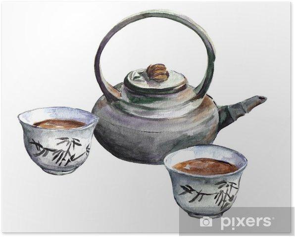 Plakat Tradycyjny zestaw porcelany herbata. Akwarela - Napoje