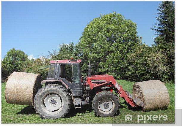 Plakát Traktor naložené balíky sena - Zemědělství