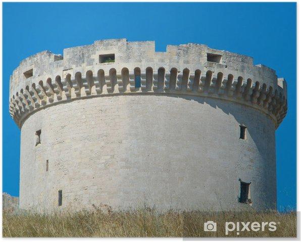 Plakat Tramontano zamku. Matera. Basilicata. - Wakacje