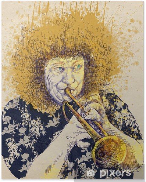 Plakat Trębacz, rysunek strony, jest to oryginalny szkic - Jazz