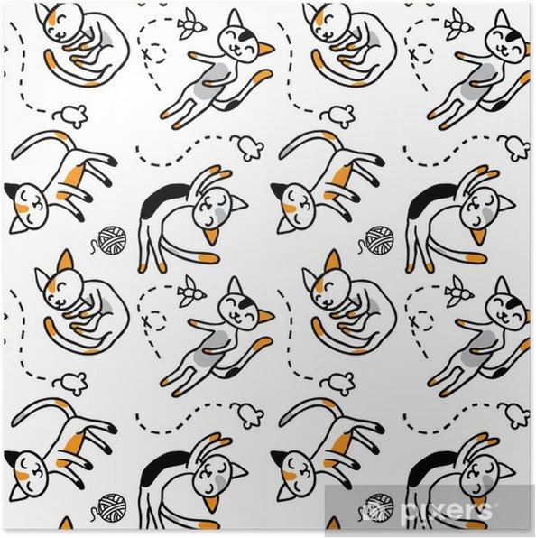 Plakat Tri-kolorowe kocięta spanie na podłodze - Ssaki