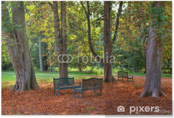 Plakát Tři lavičky v podzimní parku. - Roční období