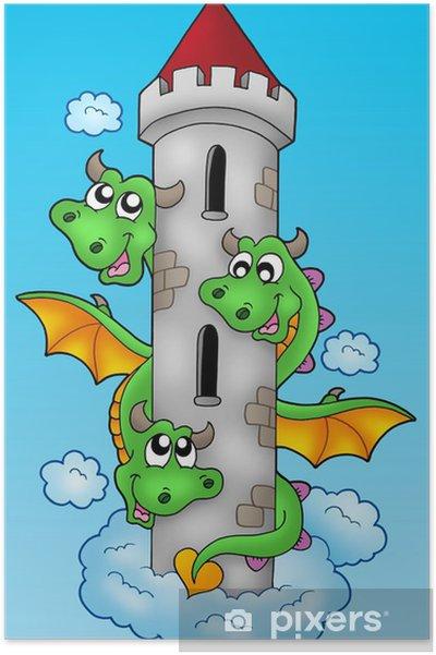 Plakát Tři šel drak na obloze - Imaginární zvířata