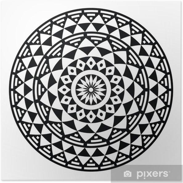 Plakat Tribal Aztec Wzór Geometryczny Lub Druk W Okręgu Folk