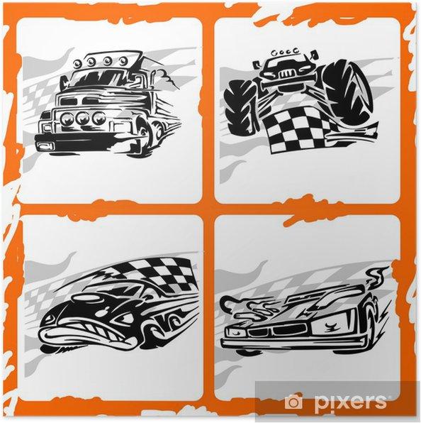 Plakat Tribal Car Racing. - Transport drogowy