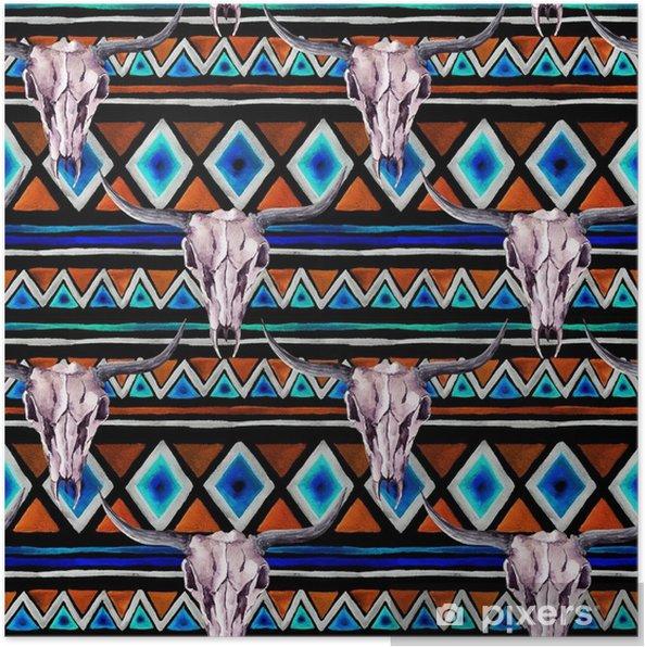 Plakat Tribal pattern - animal skull. bezszwowe tło z modnym tribal. akwarela - Zasoby graficzne