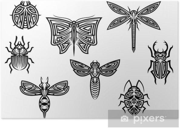 Plakat Tribal tatuaże zestaw z elementów ozdobnych owadów - Fikcyjne zwierzęta