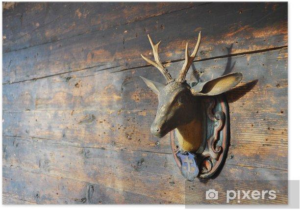 Plakat Trofeum na drewnianej ścianie - Tła