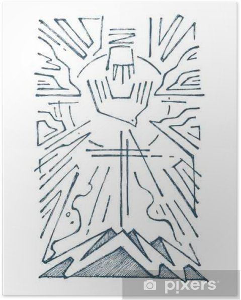 Plakat Trójcy ręcznie rysowane ilustracji - Religia i kultura