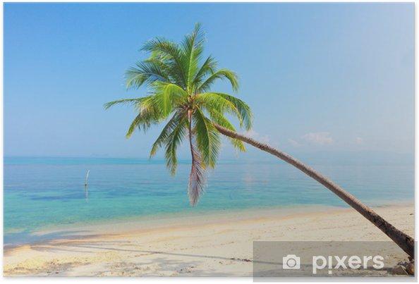 Plakát Tropická pláž s kokosové palmy - Voda
