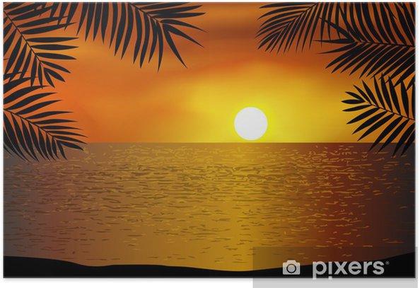 Plakát Tropická pláž západ slunce - Stromy