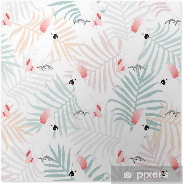 Plakát Tropické bezešvé vzor s krásy papoušci a leafs.summer vektorové exotické pozadí.textilní textury - Zvířata