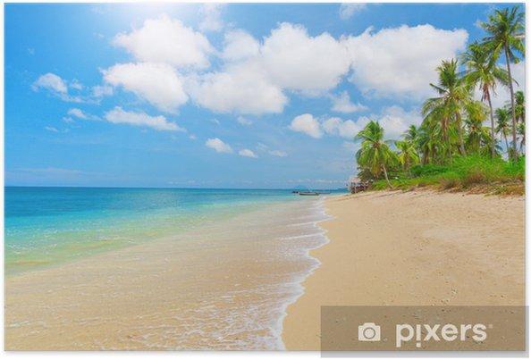 Plakat Tropikalna plaża z palmy kokosowej - Woda