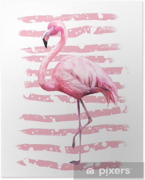 Plakat Tropikalny lato geometryczny plakat z grunge tekstury. akwarela różowy ptak - flamingo. egzotyczne streszczenie tło, vintage. ręcznie malowane ilustracji. doodles retro - Zwierzęta