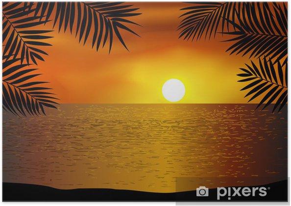 Plakat Tropikalny zachód słońca na plaży - Drzewa