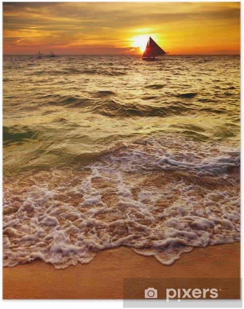 Plakat Tropikalny zachód słońca - Wakacje