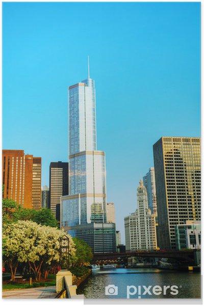Plakát Trump International Hotel and Tower v Chicagu, IL v dopoledních hodinách - Amerika