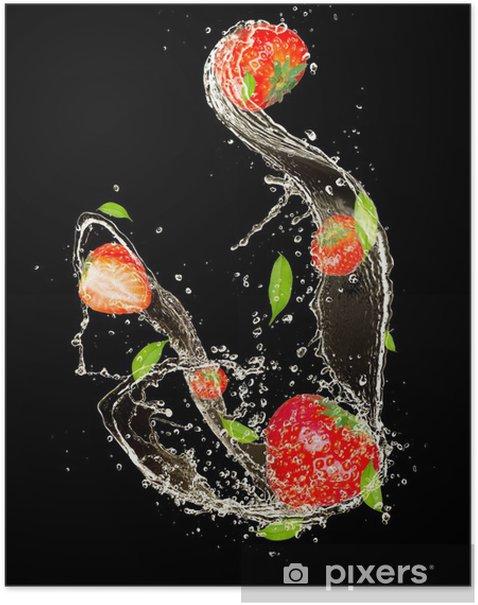 Plakat Truskawki w plusk wody, samodzielnie na czarnym tle - Tematy