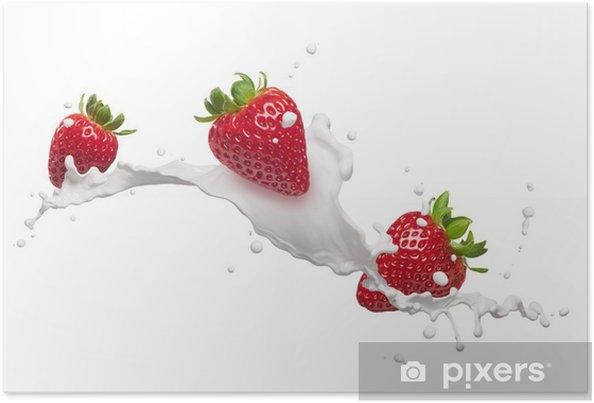Plakat Truskawki z odrobiną mleka - Mleko