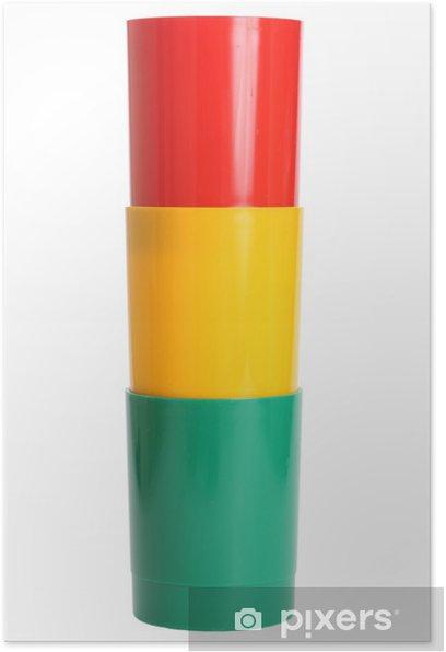 Plakat Trzy kolorowe plastikowe okulary - Moda