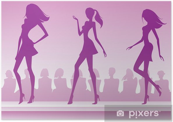 Plakat Trzy moda modele zaprezentować nową kolekcję - Moda