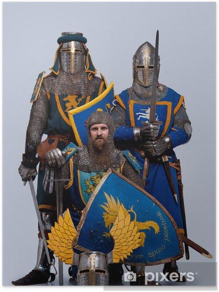 Plakat Trzy średniowieczne rycerstwo samodzielnie na szarym tle. - Mężczyźni