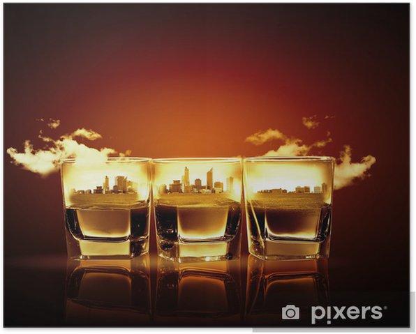 Plakat Trzy szklanki whisky - Świętowanie