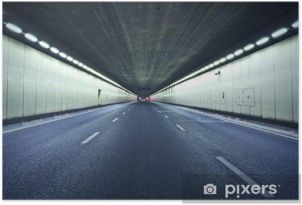 Plakat Tunel w nocy, światła tworzą linię. - Tematy