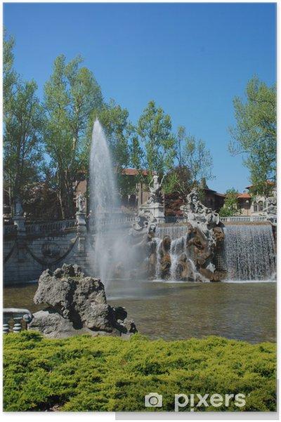 Plakat Turyn, Parco del Valentino, zamek i fontanna - Pejzaż miejski