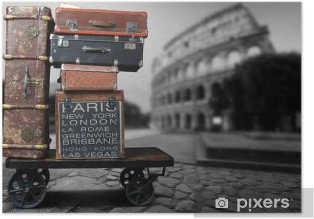 Plakat Turyści bagażowe z dużymi walizkami na wózku - Podróże