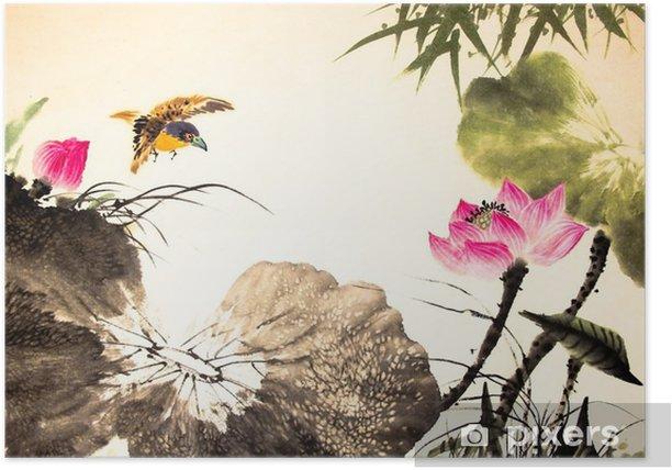 Plakat Tusz lotosu malowanie ręcznie rysowane - Rośliny i kwiaty