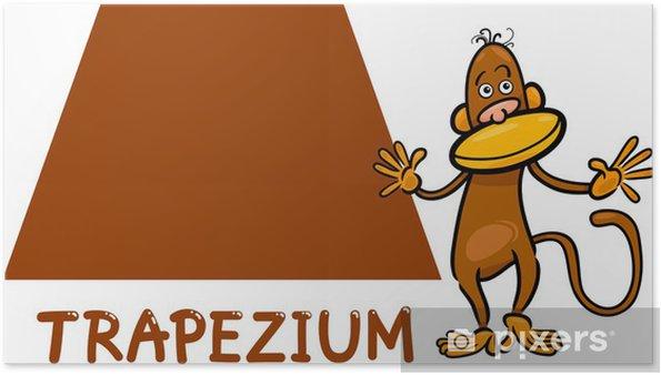 Plakát Tvar lichoběžníku s kreslená opice - Životní styl