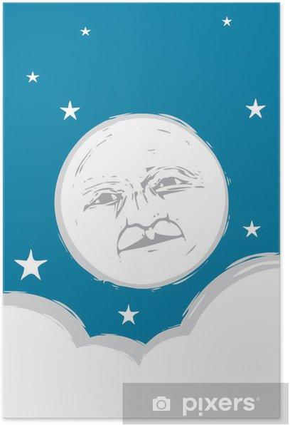 Plakat Twarz Moon # 2 - Przestrzeń kosmiczna