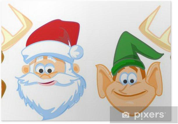 Plakat Twarze Cartoon Santa Claus, elfy, renifery - Święta międzynarodowe