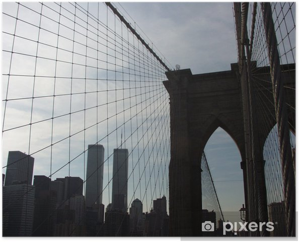 Plakát Twin Towers od Brooklyn Bridge - Amerika