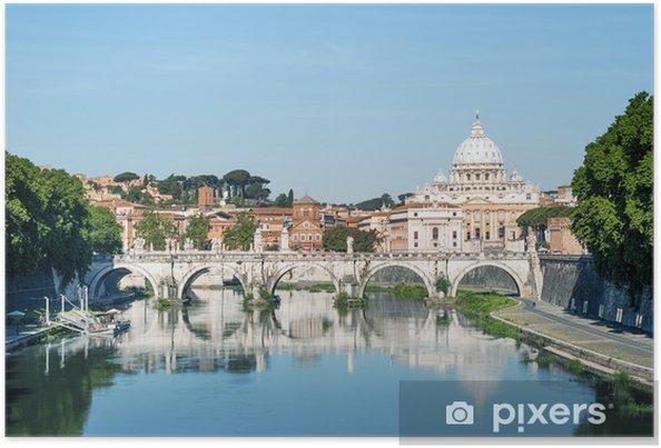 Plakat Tybru, Ponte Sant Angelo i Bazylika Świętego Piotra - Miasta europejskie