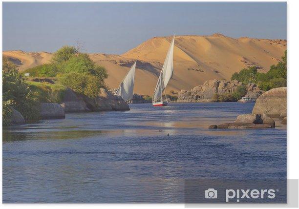 Plakát Typický plavba po Nilu. (Aswan, Egypt). - Řeky