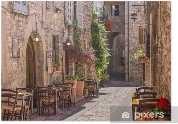 Plakat Typowa włoska restauracja w zabytkowej alei - Tematy