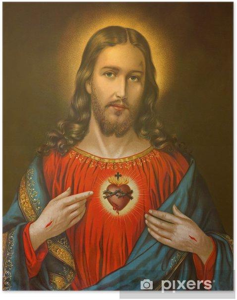 Plakat Typowe katolickie obraz Serca Pana Jezusa - Tematy