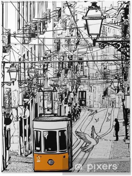 Plakat Typowy tramwajów w Lizbonie w pobliżu placu Chiado - Miasta europejskie