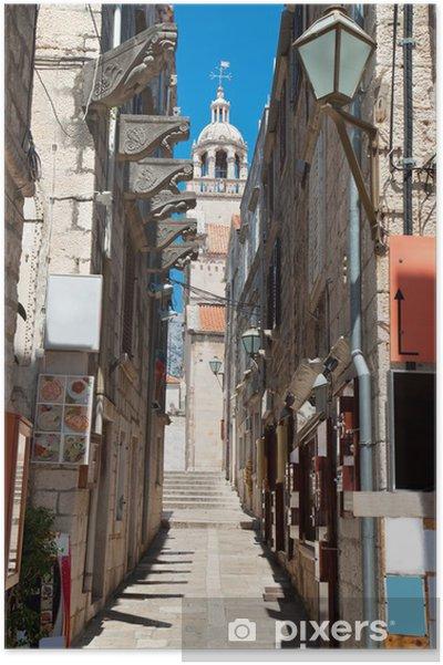Plakat Typowy wąska ulica w starego średniowiecznego miasta Korcula przez suny dni - Europa