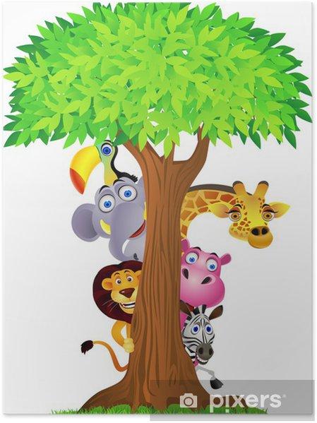 Plakat Ukrywanie zwierzę za drzewo - Naklejki na ścianę