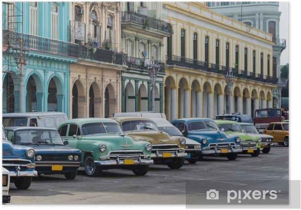 Plakat Ulica sceny z rocznika samochodu w Hawanie, na Kubie. - Kuba